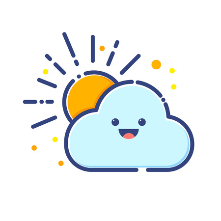 Stock of cloud and sun colorful flat icon Illustration