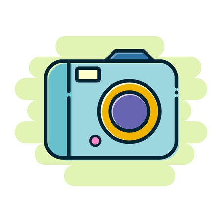 Stock of simple colorful digital camera flat icon