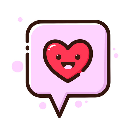 saying: Stock of heart in a speech bubble flat icon Illustration