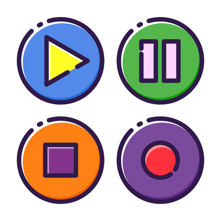 Stock of multi media player interface flat icon Illustration