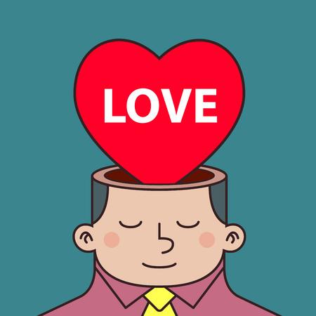 anti war: Stock of love inside a man head