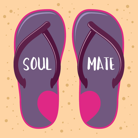 soul mate: stock of sandals or slippers with soul mate word Illustration