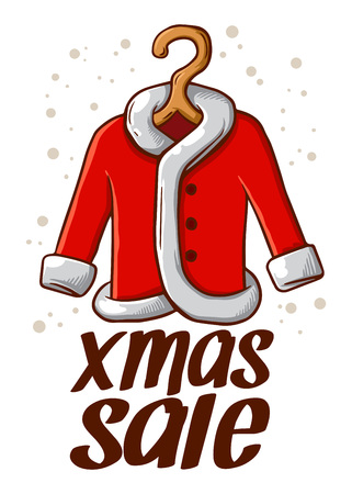 shirt hanger: Vector stock of Christmas Sale sign with Santa Claus Coat in hanger