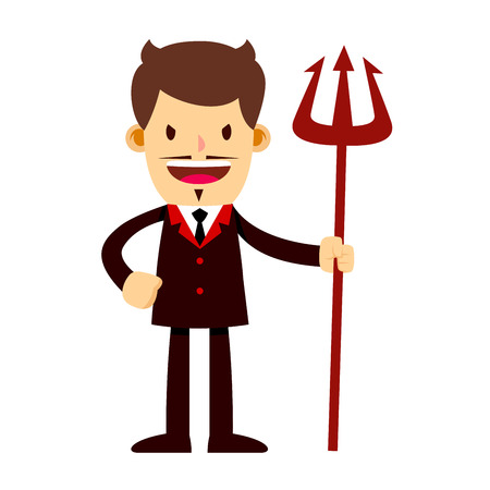 stock of a businessman in suit with a scary face holding a trident