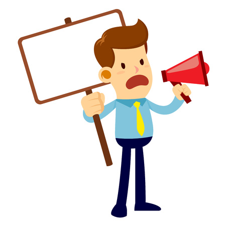 stock of an angry businessman talking and yelling through a loud speaker, while holding a blank sign board Illustration