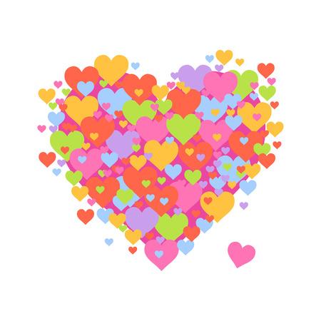 Vector stock of heart shaped symbol made from tiny hearts