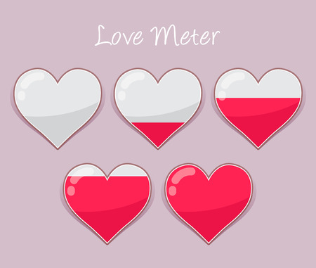 chronograph: Vector stock of hearts love meter icon from empty to full