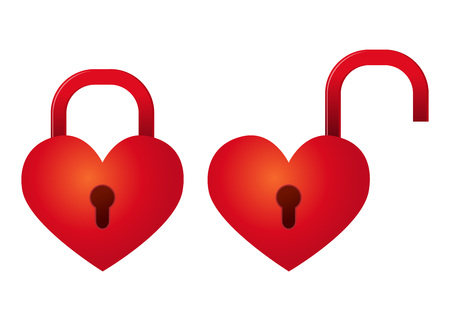 Vector stock of heart shaped padlock in locked and unlocked position