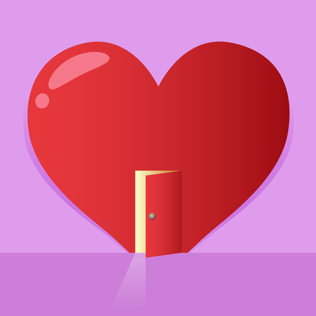 Vector stock of a big heart symbol with an open door, valentines background