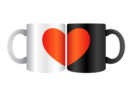 soul mate: Vector stock of two drinking mug closed each other forming a heart symbol Illustration