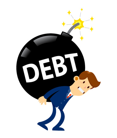 Vector stock of a businessman carrying huge debt bomb on his back Illustration