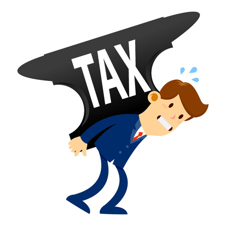 Vector stock of a businessman carrying huge anvil with tax word on it
