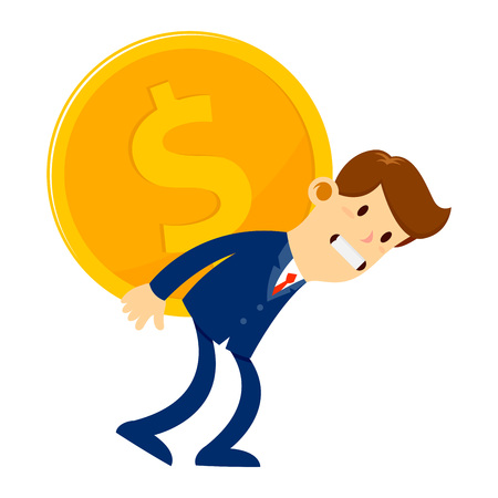 piggyback: Vector stock of a businessman carrying huge gold coin on his back Illustration