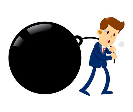Le stock vectoriel d'un homme d'affaires se sent fatigué en tirant un lourd fardeau lourd
