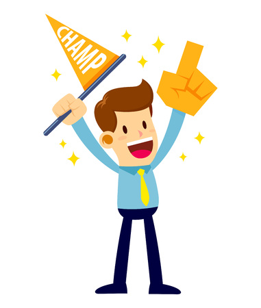 Vector stock of a businessman cheering while holding champion flag and hand foam