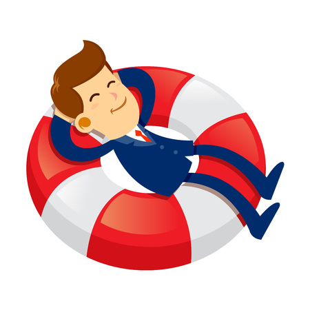 Vector stock of a businessman with a happy face sleeping on floating life buoy