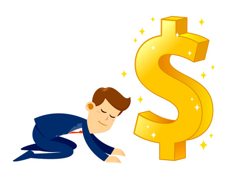 Vector stock of a businessman bow down and worship a huge shiny golden dollar sign