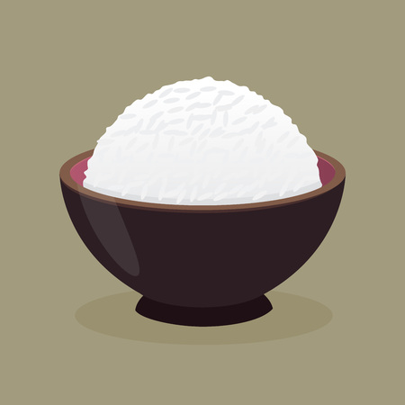 Vector stock of cooked rice in a ceramic bowl Illustration