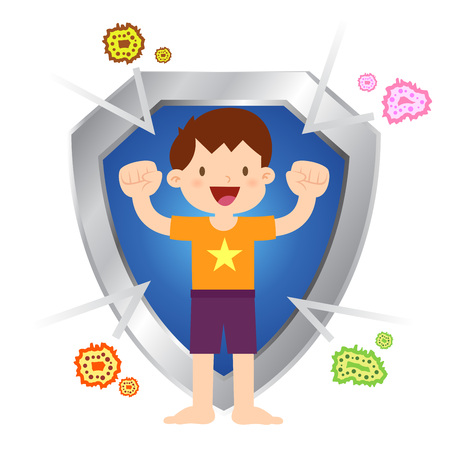 Vector stock of little boy protected with shield and immune to virus and bacteria