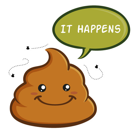 turd: Vector stock of smiling poop cartoon character with speech bubble Illustration
