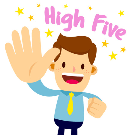 Vector stock of a businessman lifting his palm, saying high five