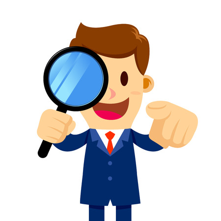 Vector stock of a businessman holding a magnifier glass and pointing his finger Illustration