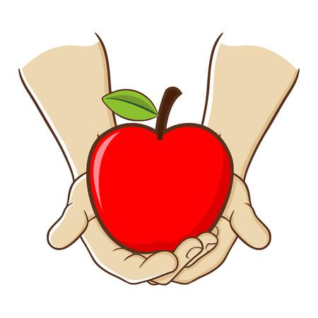 Stock de vecteur de deux mains tenant de gros fruits rouges