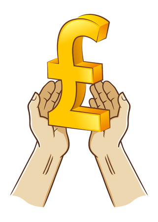 Vector stock of two hand holding pound sterling currency symbol Illustration