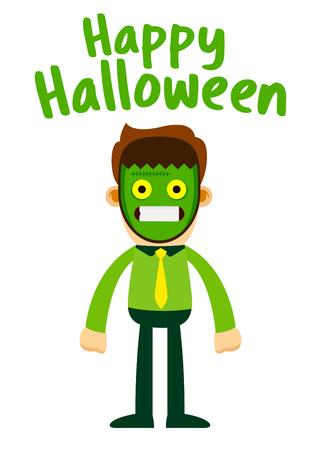 Vector stock of businessman wearing Frankenstein halloween mask