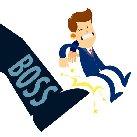 kicked out: Vector stock of a businessman being kicked out by boss foot