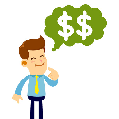 Vector stock of a businessman thinking or dreaming about money