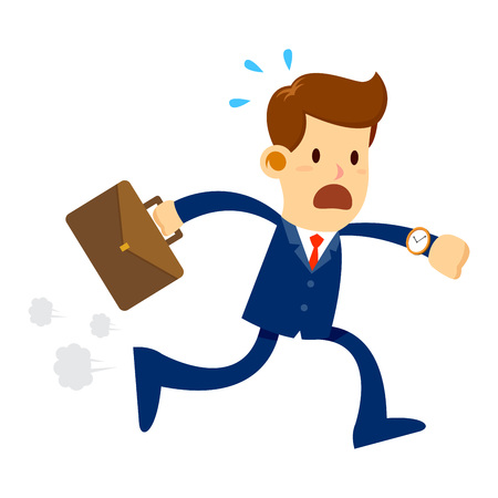Vector stock of a businessman late for work holding briefcase panic and run