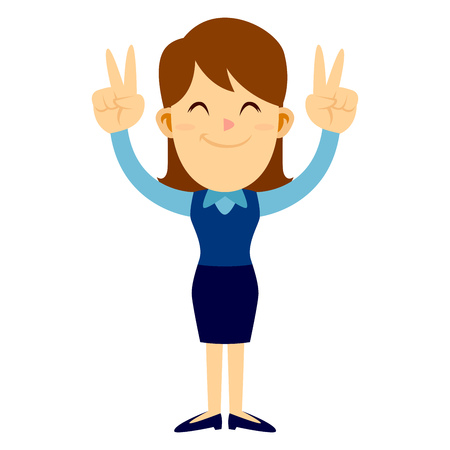 Business woman standing and smiling while raising her arms and making peace hand sign