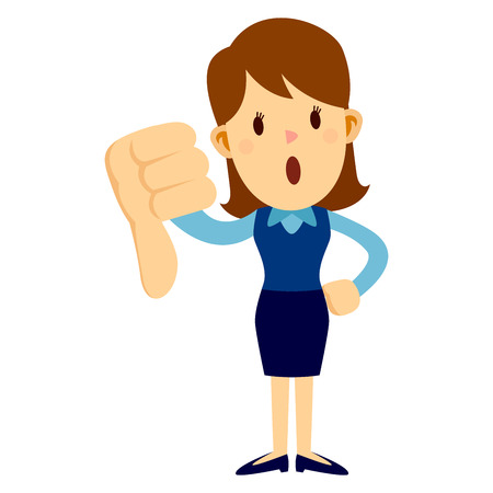Business woman standing and giving big thumbs down disappointment Illustration