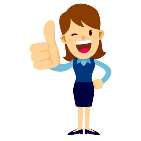 ビジネスの女性立ち、微笑みながら大きな親指をあきらめる