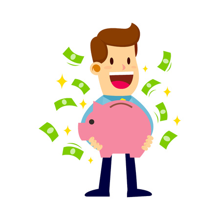 Vector stock of a businessman holding his piggy bank full of money. Иллюстрация