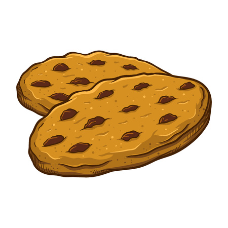 Vector illustration of delicious sweet brown chocolate chip cookies, hand drawn.