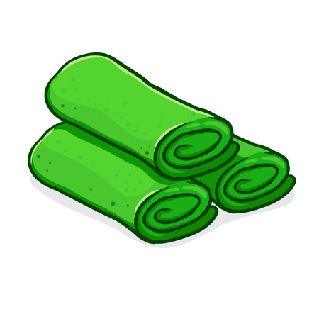 Vector stock of dadar gulung indonesian traditional food, green pandan pancake filled with grated coconut and sugar.