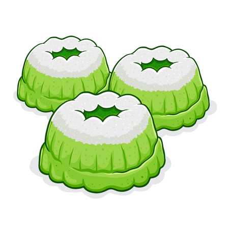 Vector stock of putu ayu indonesian traditional food made from flour, pandan, coconut milk and sugar with shredded coconut on top.