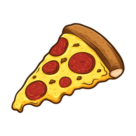 Vector illustration of delicious slice of pepperoni pizza with melted cheese, hand drawn.