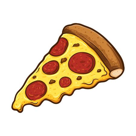 Vectorillustratie van heerlijke plak van pepperonispizza met gesmolten kaas, getrokken hand.