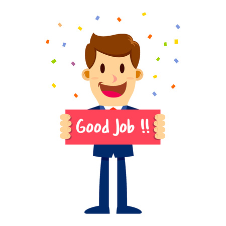 Vector stock of a businessman holding sign board saying good job, with colorful confetti background 일러스트