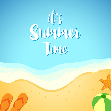 Vector illustration of summer background with beach, waves and sands