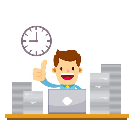 Vector stock of a happy businessman working late night overtime using laptop with pile of paperwork Illustration