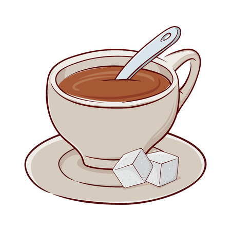 Vector stock illustration of a cup of tea with spoon and two sugars on a saucer