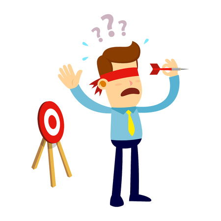 A Vector stock of a businessman with blindfold trying to throw a dart arrow in wrong direction