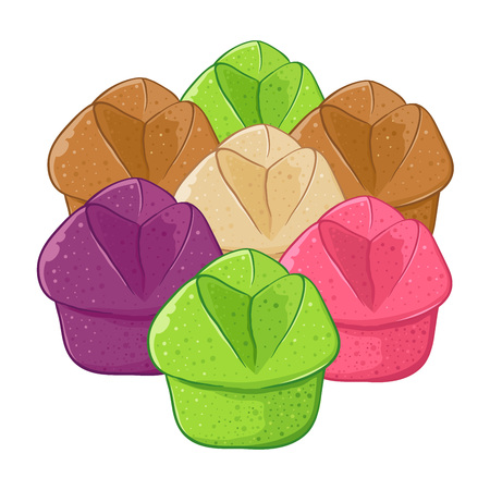 A Vector stock of kue mangkok indonesian traditional food also known as cup cakes, in various color and flavor