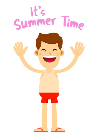 A Vector stock of a happy man in red shorts and flip flop ready for summer