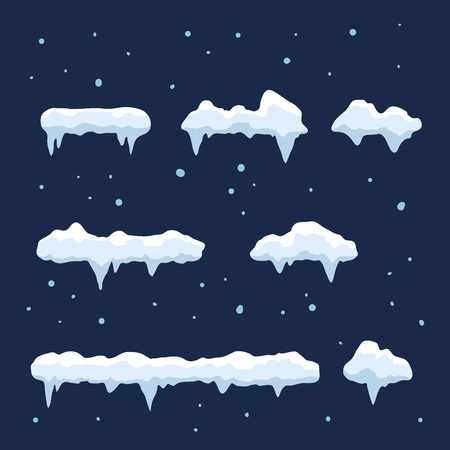 A vector stock of snow caps winter decoration set in various shape and sizes