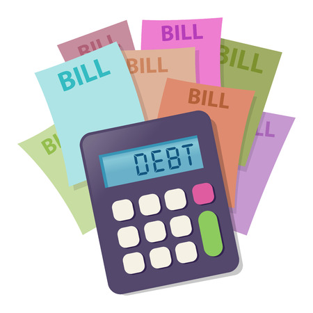Vector illustration of calculator on top of colorful bill statements
